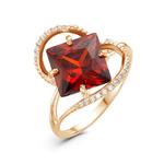 Позолоченное кольцо с фианитом цвета гранат 025