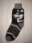 Мужские шерстяные носки круговой вязки с рисунком(собака)