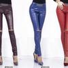 Кожаные брюки с разрезами на коленях
