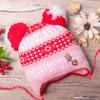 Шапка вязаная с двумя бубонами, на меху, орнамент и значок, розовая
