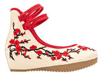 AvaCostume Chinese Plum Embroidery Rubber Sole Platform Wedge Sandals for Qipao Cheongsam
