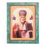 Икона настенная Николай Чудотворец змеевик 140х180х12 мм 840 гр.