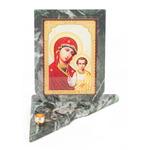 Икона с подсвечником Казанская средняя змеевик 120х120х130 мм 600 гр.