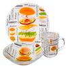 "Набор посуды 3пр.(тарелка 19см, салатник 16см, чашка 220мл), стекло, ""Гамбургер"", Дизайн GC 877-568"