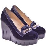 Женские замшевые туфли на танкетке (размер 37)