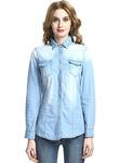 Walk Arrive Women's Denim Shirt Button Down Denim Shirt Long Sleeve Denim Shirt Denim Blouse With Pockets