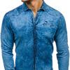 Мужская рубашка джинсовая с длинным рукавом granatowo-синяя Denley 702