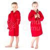 Халат махровый детский капюшон Красный