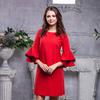 Платье красное с рукавами волан