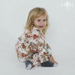 Детский костюм из флиса, молочный с цветами р-р 98-122