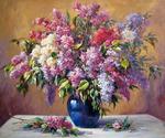 """Алмазная мозаика на рамке АРС12154 """"Сирень в синей вазе"""", 40х50 см"""