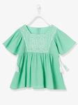 Девочек блузка из крепа - зеленый цвет с дизайн