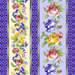 Ткань Вафельное полотно (Роза фиолет ягоды смородины 5351-1)