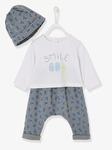Новорожденный 3-Piece набор, земляники или эскимосы - синий средний на всем напечатанный