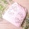 Шапка трикотажная с ушками, бабочки, бантики из страз и жемчуга, розовая