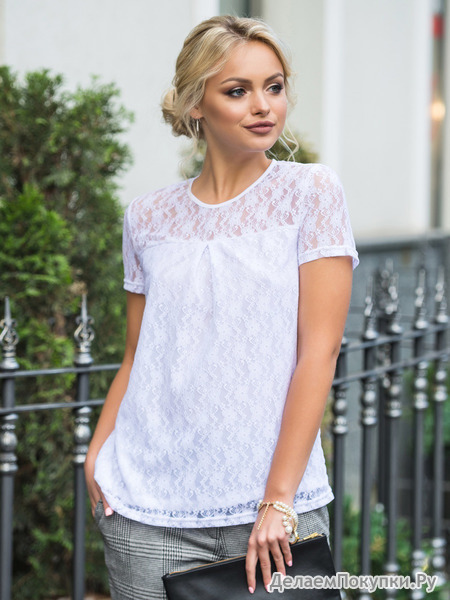 Нежная блуза свободного кроя, размеры 44-54