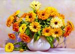 Картина по номерам «лучики солнца в цветочной вазе»