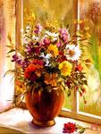 Картина по номерам « букет цветов на окне»