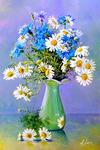 Картина по номерам «ромашки с васильками в вазе»
