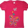 Футболка однотонная (красная. розовая) для девочки с принт-рисунком Бабочка