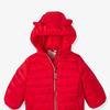 Детская легкая куртка со стильным капюшоном - красный яркий сплошной