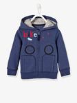 Мальчиков куртка с молнией и капюшон - темно-синий твердый с дизайном