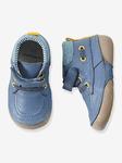 Мальчики деним и кожаные сапоги, предназначенные для Ползающих младенцев - темно-синий