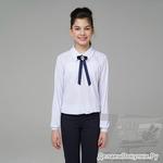 260 Блузка для девочки с длинным рукавом, размер 158, белый