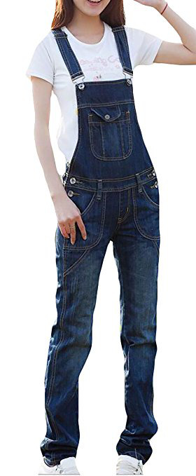 WSPLYSPJY Women's Classic Denim Bib Strap Ripped Pocket Overall