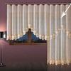 Занавеска жаккардовая из крученой двойной кремово-золотистой пряжи современного дизайна.высота 250 см