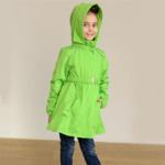 Плащ-ветровка для девочки, модель ВП4, цвет зеленый