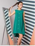 Креповое платье изумрудно-зеленого цвета с асимметричным подолом 70881