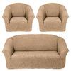 Чехлы на диван и 2 кресла без оборки светло бежевый