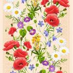 """рис.5418-1 """"Полевые цветы"""" -вафельное полотно"""