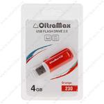 Флеш-накопитель 4Gb OltraMax 230, USB 2.0, пластик, оранжевый