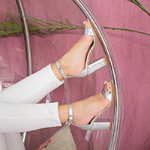 Серебряные кожаные босоножки 29025