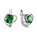 Серебряные серьги с фианитами зеленого цвета 026