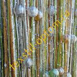 Нитяные шторы радуга с люрексом и бусинами оптом цвет зеленый с оранжевым