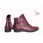 Ботинки из бордовой кожи со змейками Арт. 12-21(М6)