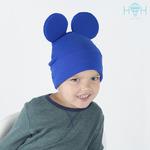 Взрослая двухслойная трикотажная шапка с ушками Микки, синий