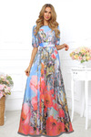 Платье купон голубой с цветами