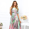 Платье купон салатовый с цветами