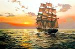 Картина по номерам быстрый корабль на закате 40x50