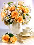 Картина по номерам книга, чашка и букет с розами 30x40