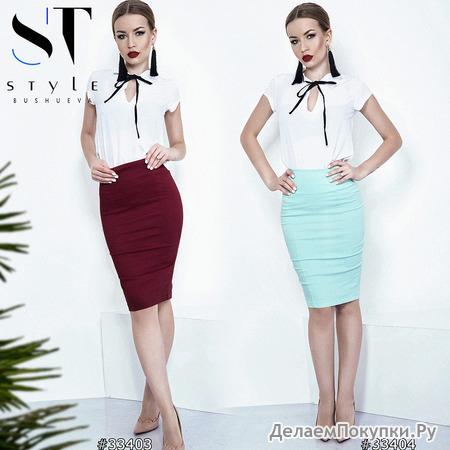 Легкий летний комплект из блузы и юбки