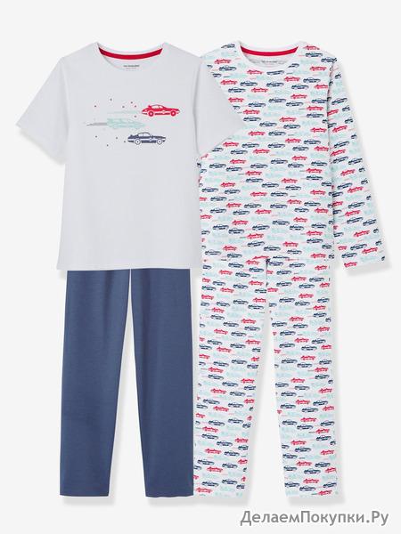 Для мальчиков комплект из 2 смесь и матч Пижама - белый свет два цвета/multicol