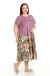 Комфортное платье А-силуэта из двух видов ткани( размеры 54-66)