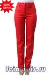 Слегка приуженные красные брюки ЛЕТО (44-56)