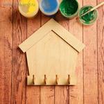Заготовка для творчества «Ключница домик», на 4 крючка 2 ШТУКИ