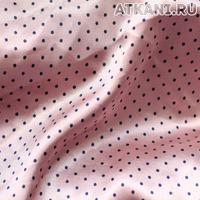 Атлас стрейч набивн.горох розовый с темно-синим